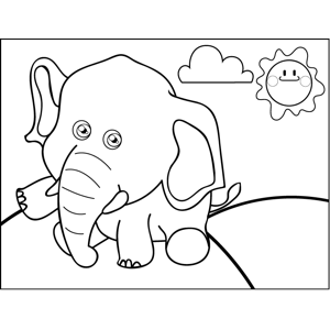 Sitting Elephant coloring page