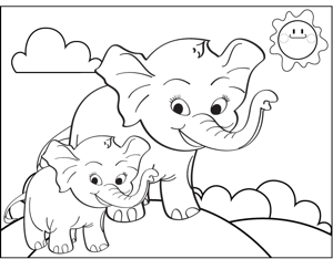 Smiling Elephants coloring page