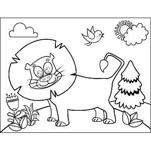 Smiling Lion coloring page