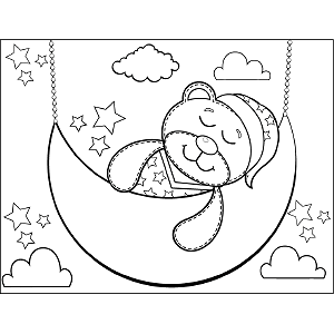 Snoozing Teddy Bear coloring page