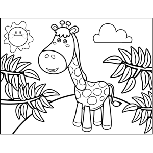 Standing Giraffe coloring page