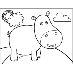 Standing Hippo coloring page