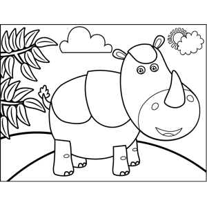 Standing Rhino coloring page