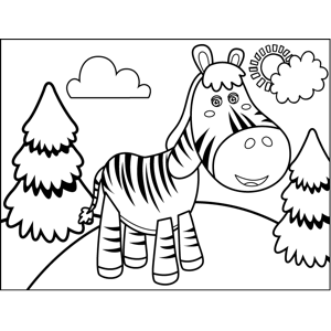 Standing Zebra coloring page