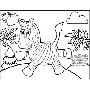 Startled Zebra coloring page
