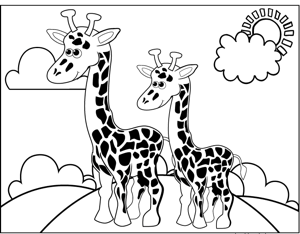 Two Giraffes coloring page