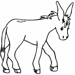 Walking Donkey Kid coloring page