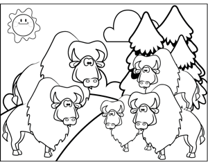 Wildebeests coloring page