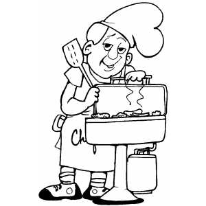 Barbeque Chef coloring page