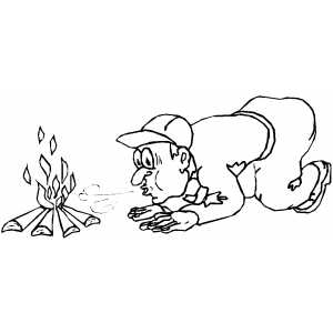 Blowing On Campfire coloring page