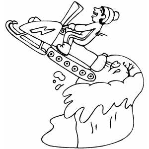 Boy Jumping On Snowmobile coloring page