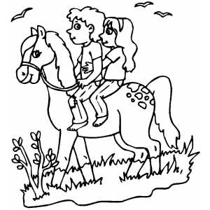 Couple On Horse coloring page