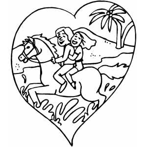 Couple On Horse At The Beach coloring page