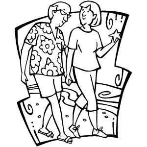 Couple Walking On Beach coloring page