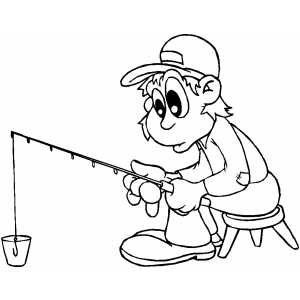 Fishing In Bucket coloring page