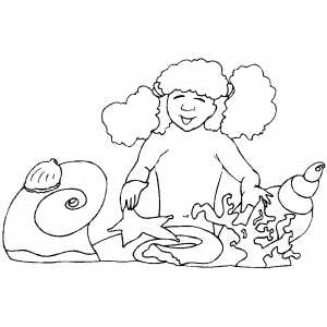 Girl And Seashells coloring page