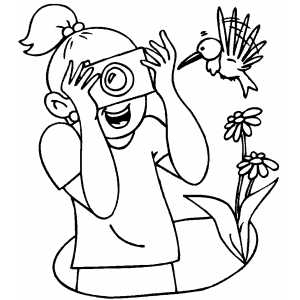 Girl Photographing Bird coloring page