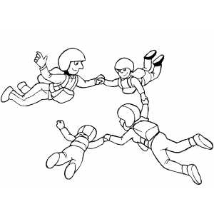 Group Sky Diving coloring page