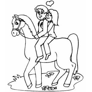 Lovers On Horse coloring page