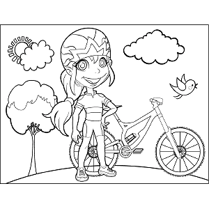 Woman with Bicycle coloring page