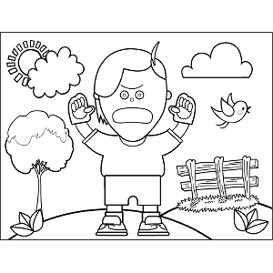 Angry Boy coloring page