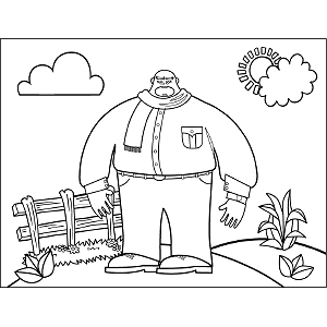 Big Man with Small Head coloring page