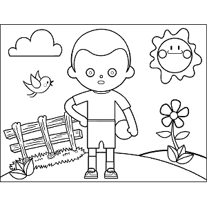 Boy with Ball coloring page