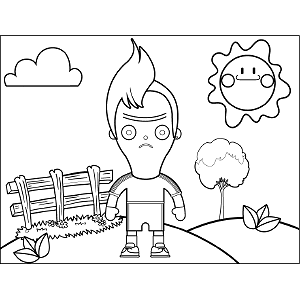 Boy with Cow Lick coloring page