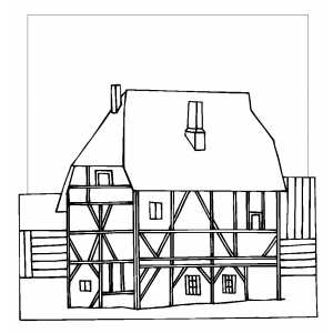 Cottage coloring page