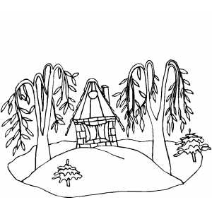 Cottage In The Forest coloring page