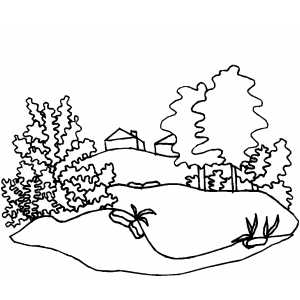 Cottage In The Valley coloring page