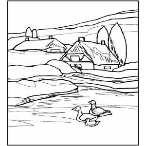 Cottages Near River coloring page