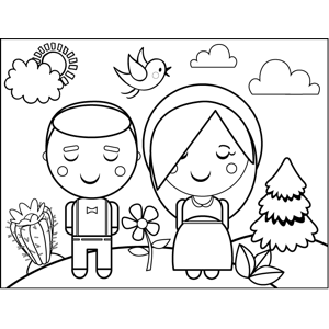 Couple in Field coloring page