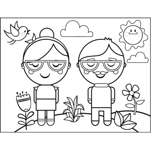 Couple with Glasses coloring page