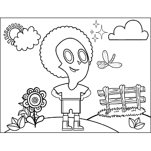 Curly-Haired Kid with Dragonfly coloring page