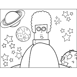 Curly-Haired Scientist coloring page
