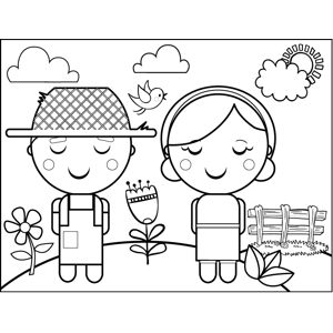 Farmer Couple coloring page