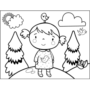 Girl with Bird Dress coloring page