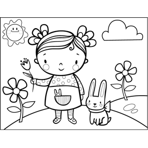 Girl with Pet Bunny coloring page