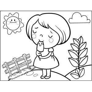 girl with popsicle coloring page - Printable Popsicle Coloring Pages