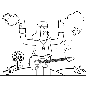 Guitar Man coloring page