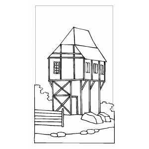 High Cottage coloring page
