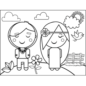 Hippie Couple coloring page