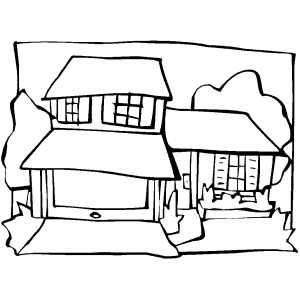 House Splitted Into Three Parts coloring page