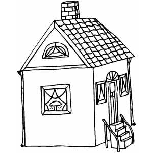 House With Four Stairs coloring page