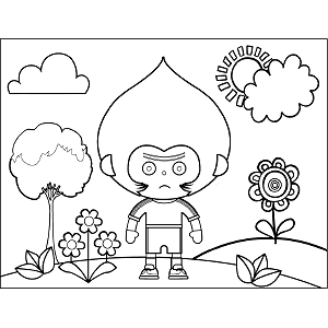 Kid Pointy Head coloring page