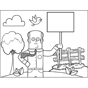 Man with Sign coloring page