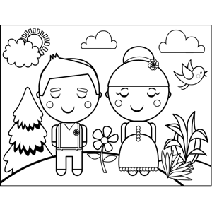 Old-Fashioned Couple coloring page