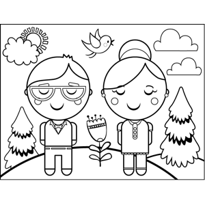Old Couple coloring page