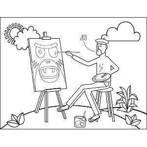 Painter at Work coloring page